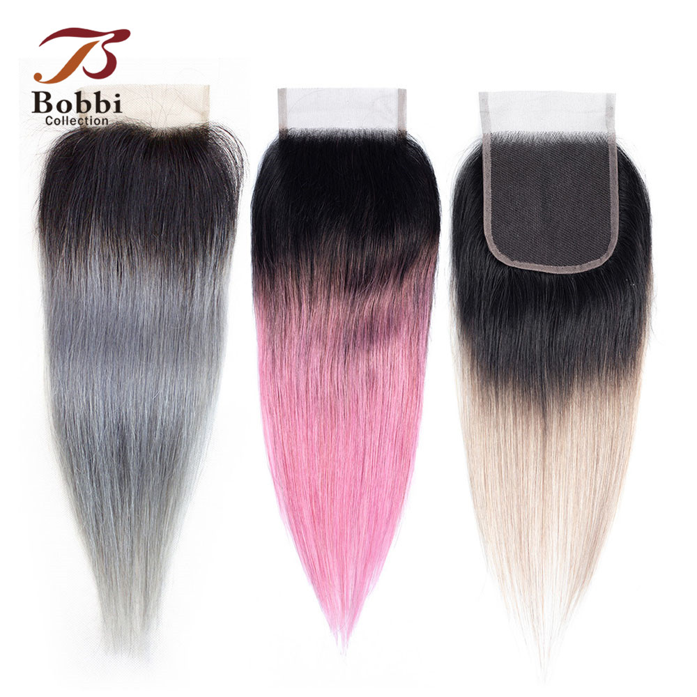 Bobbi Collection T 1B Dark Grey 4x4 Lace Closure 12 Inch Brazilian Straight Hair Ombre Human Hair Remy Hair Free Middle Part