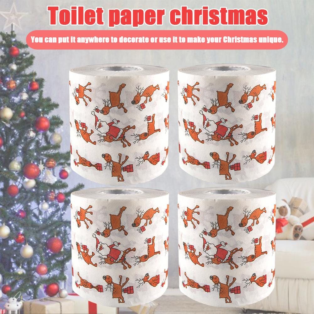 Toilet Paper 2-Ply Christmas Toilet Roll Paper Santa Claus Bath Toilet Roll Paper Christmas Supplies Tissue Roll For Household