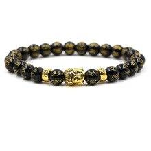 2019 Natural Stone Buddha language Beads Bracelet Bangle Gold Silver Head Elastic for Men Women Classic Buddhist