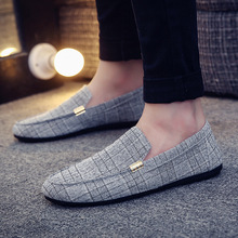 2019 Spring Casual Shoes  Summer Men Loafers New Slip On Light Canvas Youth Men Shoes Fashion Peas Driving Shoes Flat Footwear стоимость