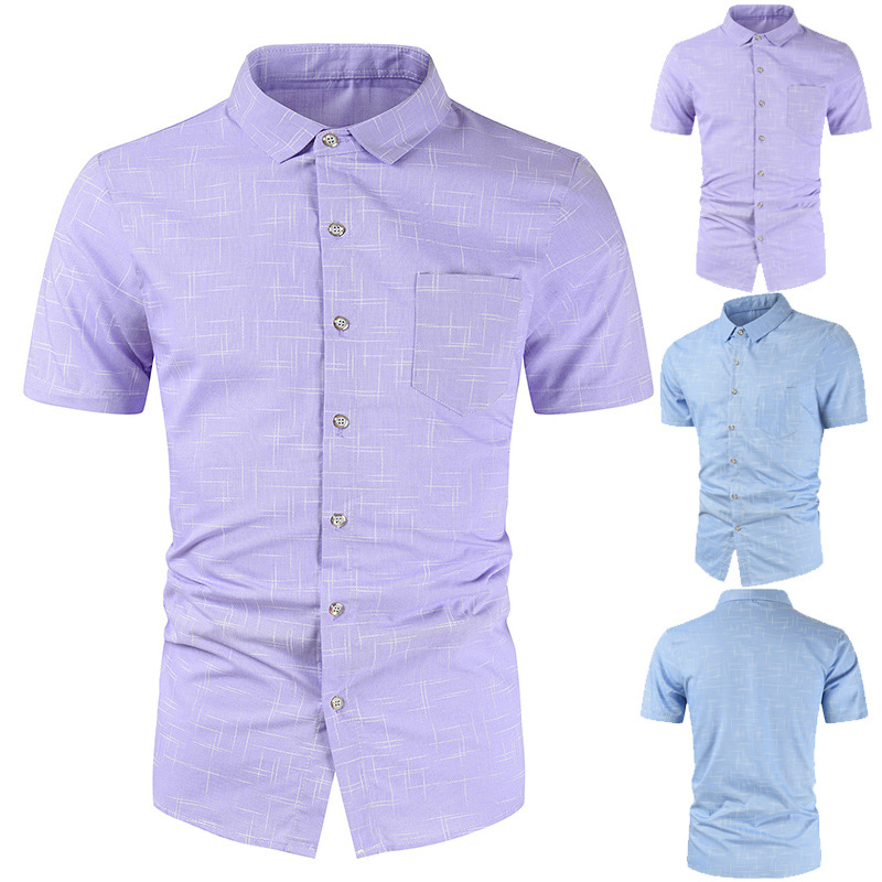 New Short Sleeves Turn-down Men Shirts Men's Summer Business Classic Shirt Brand Fashion Cotton Button Clothes Dropshipping