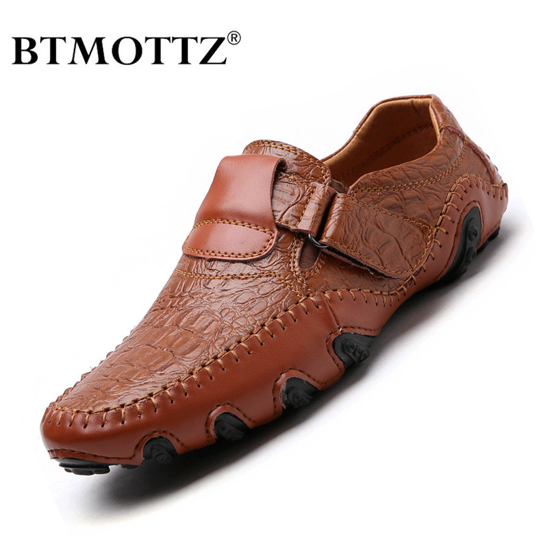 Handmade Genuine Leather Mens Shoes Casual Brand Italian Men Loafers Fashion Breathable Driving Shoes Slip On Moccasins BTMOTTZ