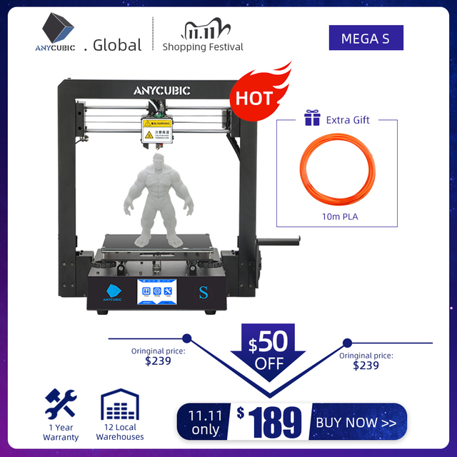 Anycubic 3D Printer Mega s Filament printing Full Metal Frame Industrial Grade High Precision Impresora 3d Kit imprimante