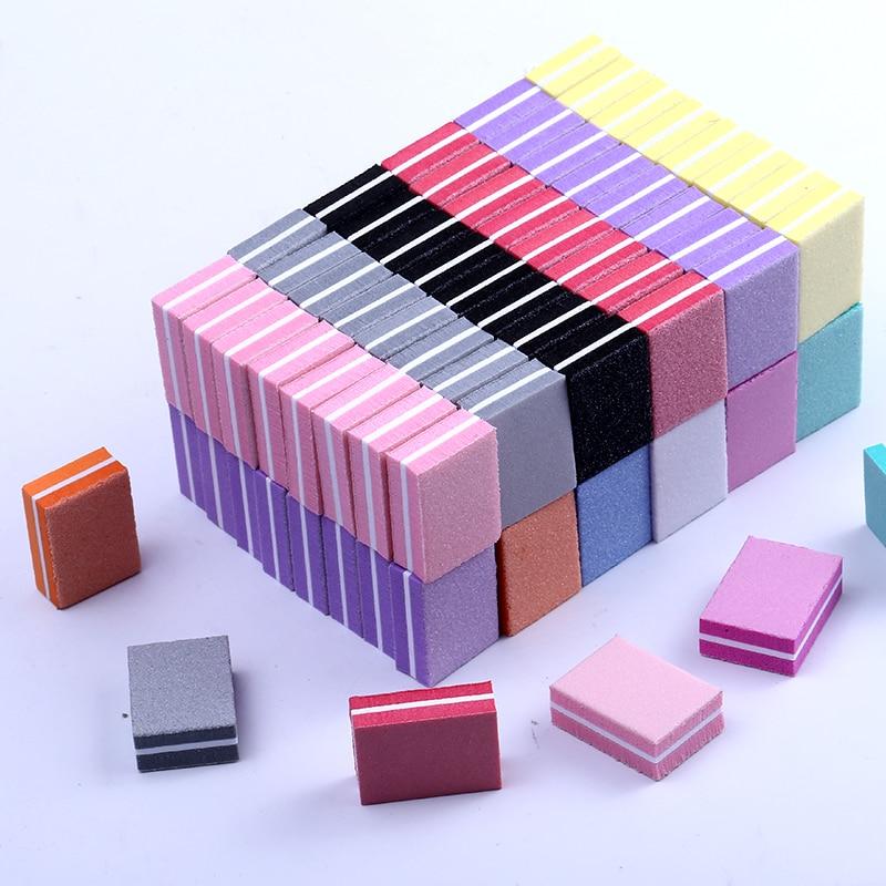 10/25/50pcs Lot Double-sided Mini Nail File Blocks Colorful Sponge Nail Polish Sanding Buffer Strips Polishing Manicure Tools