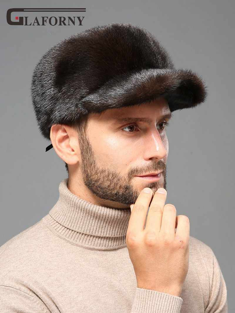 54fff3f5f 2019 Glaforny solid mink fur cap man winter mink fur whole ear protection  fur hat male flat top peaked cap baseball cap