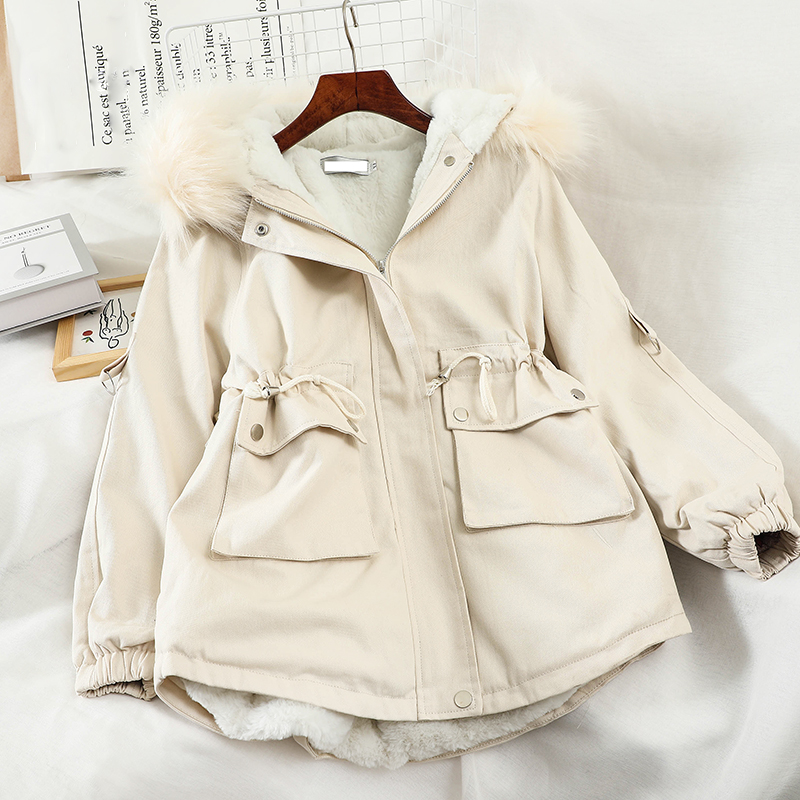 HELIAR Fur Hooded Winter Thick Cotton Coat Women Warm   Parkas   Warm Pockets Solid 2020 New Fashion Short Snow Coat Jacket Women
