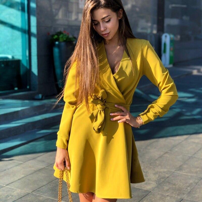 Women Casual Sashes A Line Party Dress Ladies Long Sleeve V Neck Sexy Elegant Dress 2019 Winter Dress Mini Vintage Vestidos