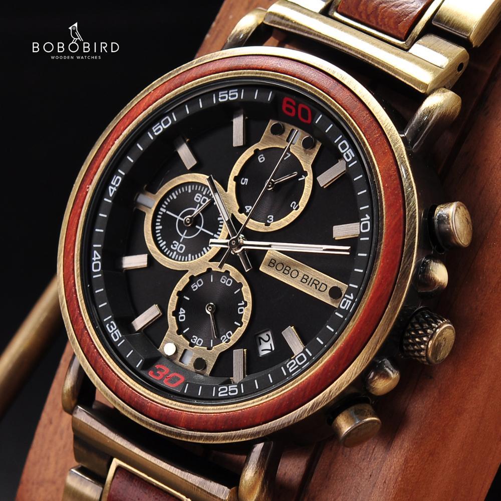 Men Watch BOBO BIRD  Montre Homme Wooden Men's Watches Auto Date Chronograph Quartz Wristwatch New Brand Relogio Masculino K-t07