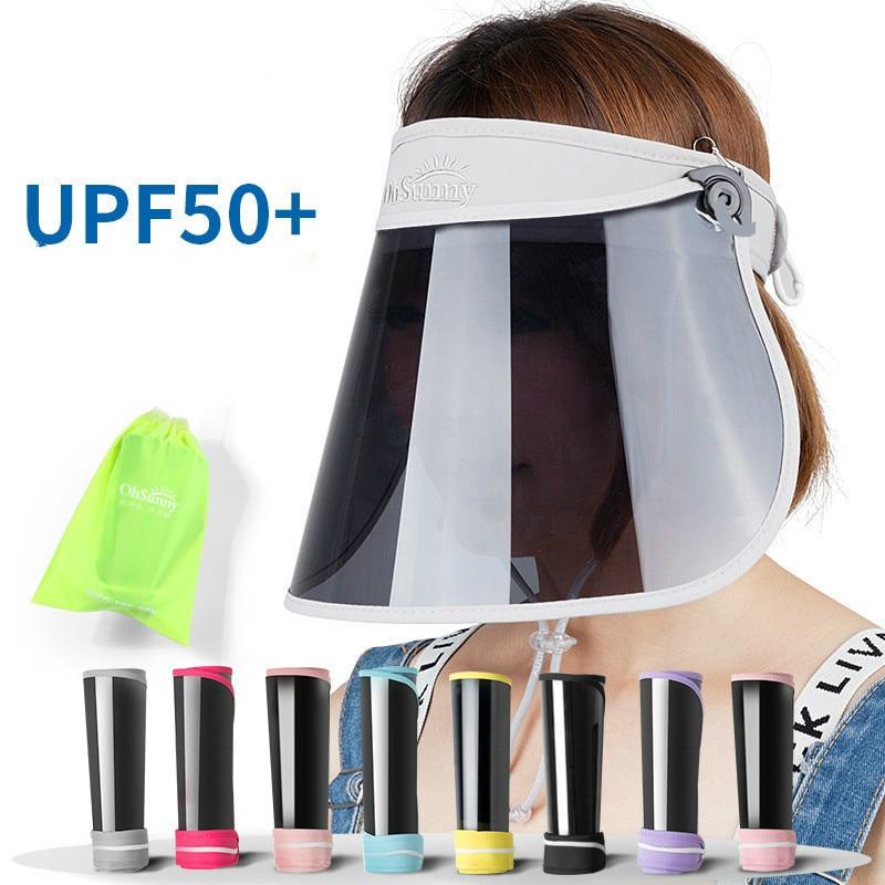 Adjustable Women Transparent Sun Visor Hat Cap Uv Protection Cover Flexible Summer Cap Sun-proof Sun Hat