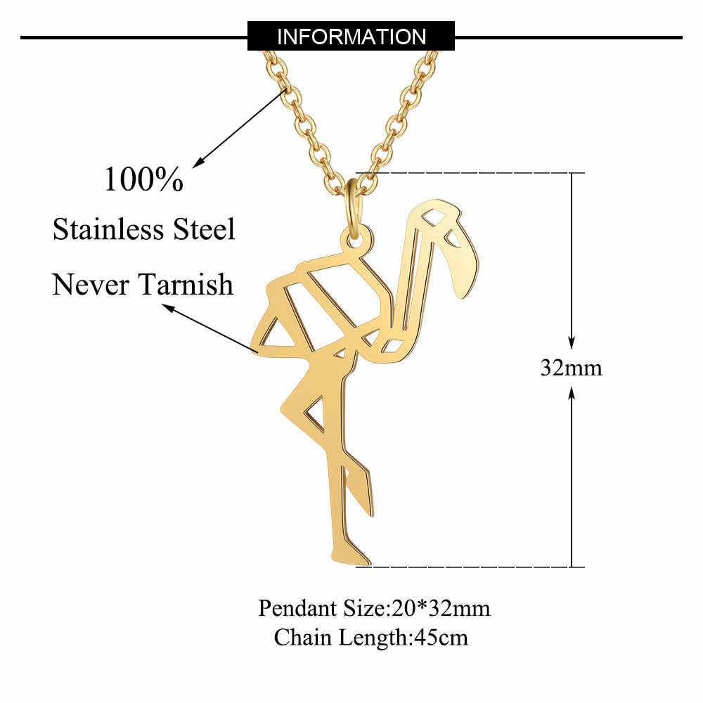 100% Stainless Steel Animal Flamingo Fashion Necklace for Women Unique Design Pendant Necklaces Personality Jewellery