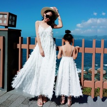 Tank Tassel Mother Daughter Dresses Family Matching Outfits Look Mommy and Me Clothes Mom Mum Baby Women Girls Dress Clothing