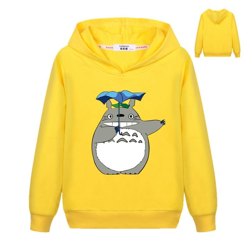 Crianças meninos moletom outono adorável totoro impresso inverno moda com capuz pulôver hoodies fino casaco básico para meninas