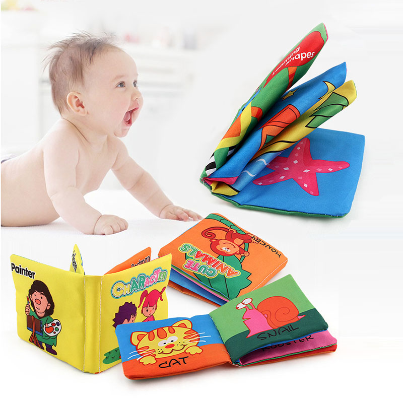 12 Style 8 Pages Baby English Soft Cloth Books Early Education Toy Cartoon Newborn Toys 0-36 Months Rattles Crib Bed Baby Toys