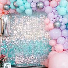 Lago iridescente Blue Square Glitter Shimmer Grid Shimer Party Wall sfondo trasparente bordo paillettes sfondo pubblicitario