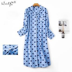 Image 3 - Nightgown Pyjamas Womens Sleepwear Lady Cotton Long Nightdress Plaid Cartoon Pyjamas Loungewear Nightwear With Pocketed