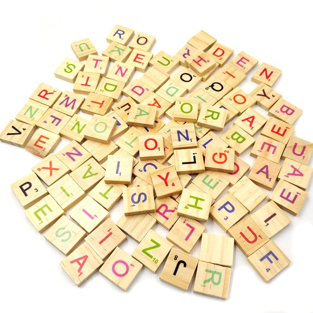 100Pcs Europe Certified Eco-Friendly Square Wooden Army Green Letter Alphabet Scrabble Number English Words Gift For Children