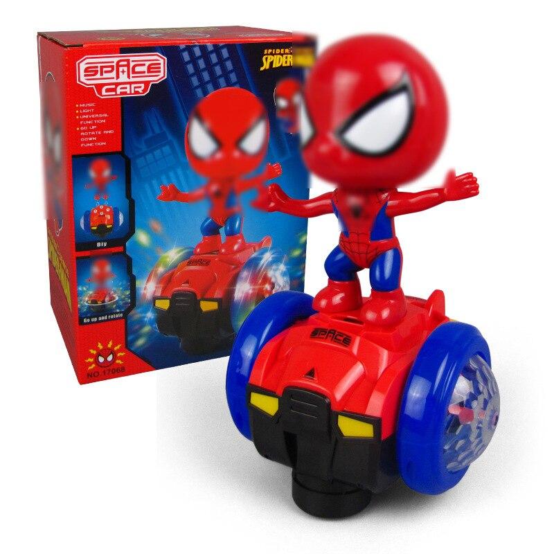 Electric Balance Toy Car 360 Degree Rotating Spiderman Captain America Music Lighting Figure Doll Car Kids Toys