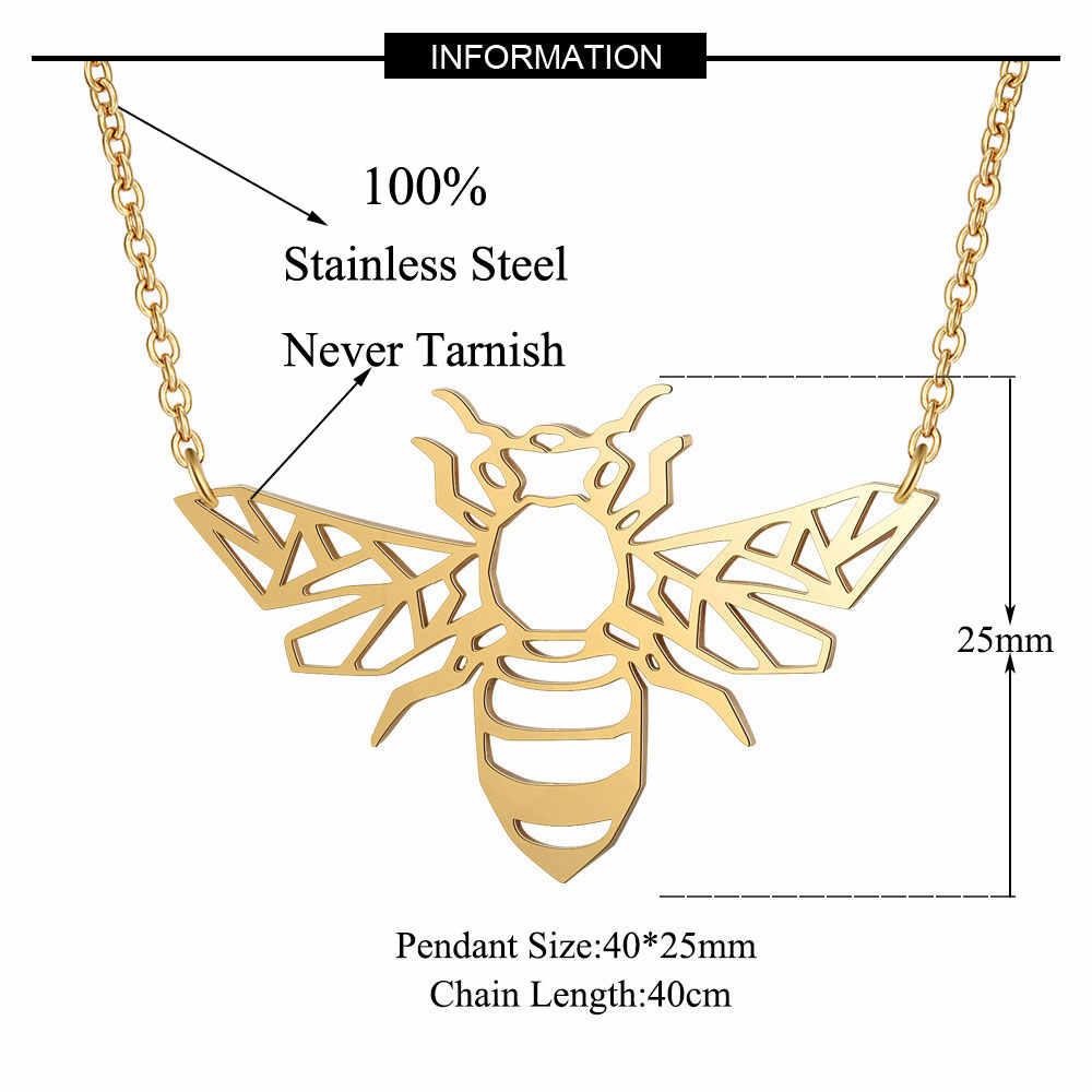 100% ze stali nierdzewnej zwierząt pszczoły miodnej moda naszyjnik dla kobiet Wedding Party naszyjniki kobiece Trendy biżuteria