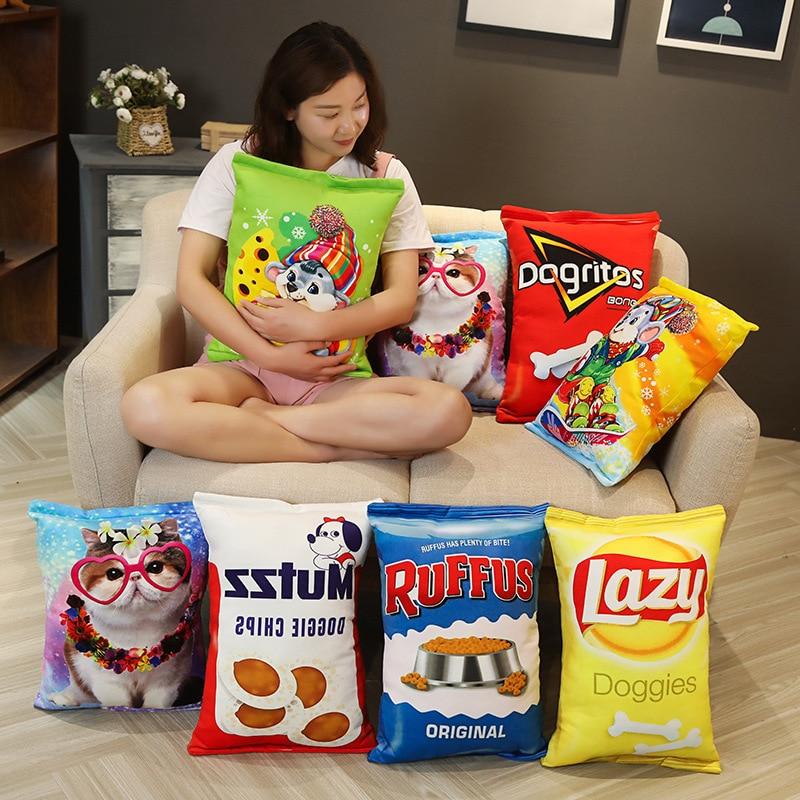 criativo realista petiscos pelucia travesseiro simulacao gato comida de cachorro batatas fritas biscoito lifelike comida snack