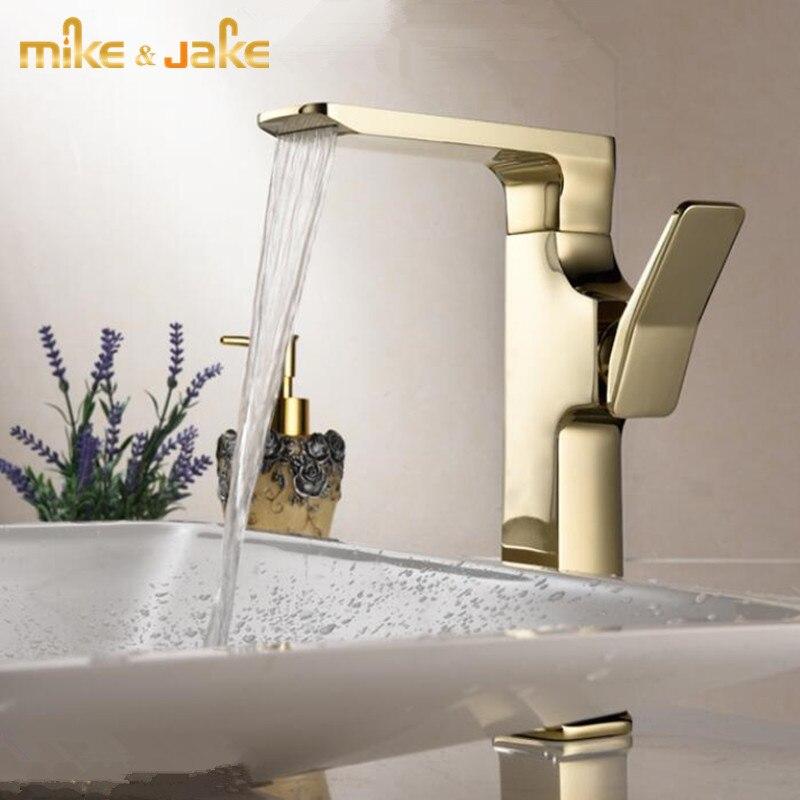 Блестящий золотой кран для раковины, Роскошный водопад, смеситель для раковины, Золотой смеситель для раковины, скандинавский Черный кран для ванной комнаты, высокий кран