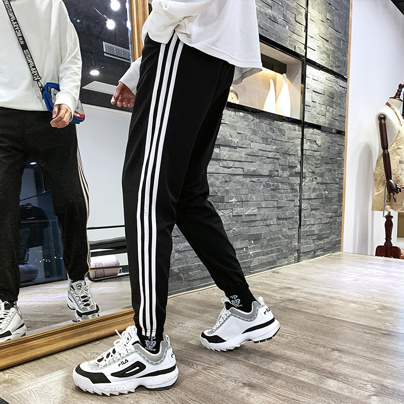 Aberdeen Literature And Art-Style Students Casual Pants Men's Korean-style Trend Slim Fit Side Stripes Three Rod Men's Sports Sw