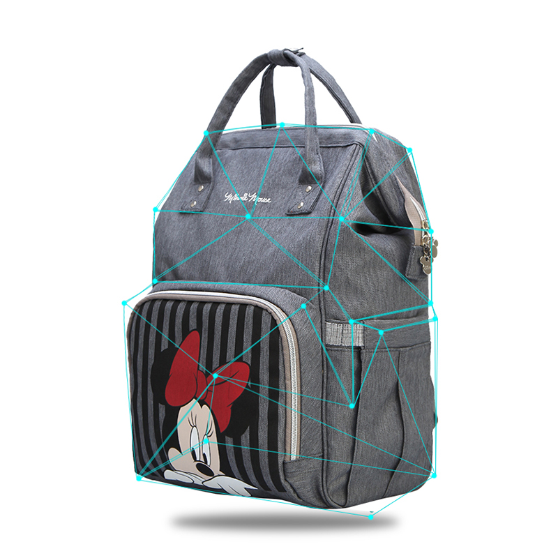 Image 3 - Disney Mickey Minnie Travel Diaper Bag Bolsa Maternidade Waterproof Stroller Bag USB Baby Bottle Warmer Mummy Backpack Nappy Bag-in Diaper Bags from Mother & Kids