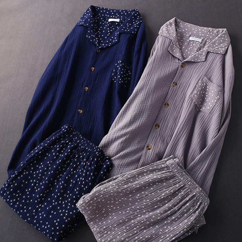 Autumn Mens Crepe Gauze Pajamas Suit Long-sleeved Trousers Home Clothes Plus Size Men Sleepwear Long Shirt Nightwear 2 Piece Set
