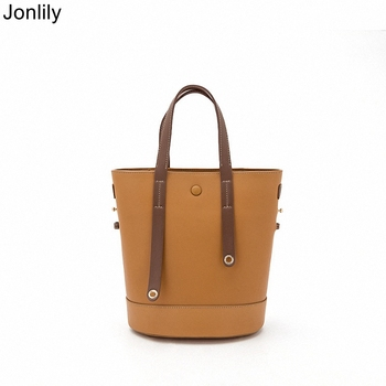 Jonlily Women Genuine Leather Shoulderbag Female Composite Bucket Bag Elegant Handbag Teens Crossbody Messenger Bag -KG253