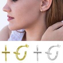 CANNER 2020 New Korean Jewellery Simple Gold Cross Earrings