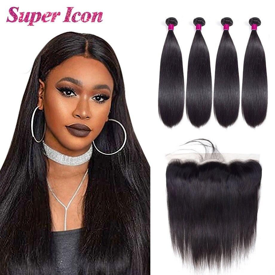 Прямые пряди человеческих волос с фронтальным бразильским плетением, натуральные волосы для наращивания, 4 пряди с фронтальной необработан...