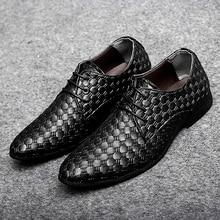 2020 גברים נעליים יומיומיות עור אופנה נעלי מארג עסקי שרוכים נעלי פנאי נעלי לשכת קלאסי קלה נעליים