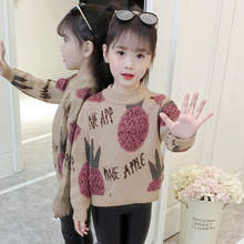 Autumn Winter Girls Sweaters Kids Thicken Christmas Sweater Clothes Children Pineapple Printed Pullover Cotton Knitwear