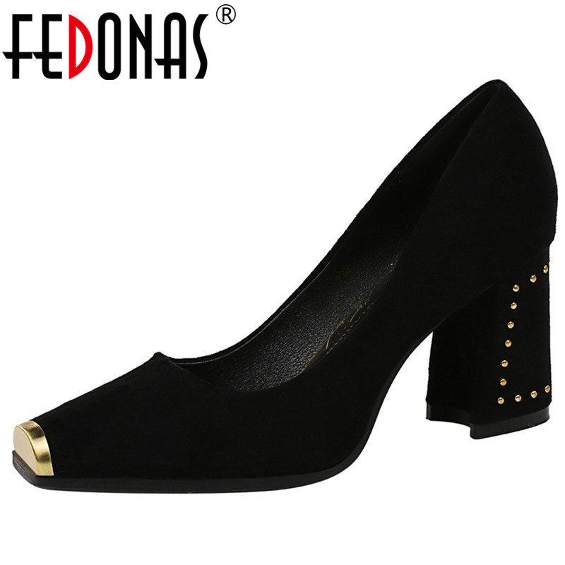 FEDONAS Metal Square Toe Women Flock Pumps Spring Summer Newest Brand High Heels Basic Prom Party Shoes Woman Rivets Rome Shoes