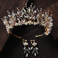 Handmade Crystal Pearl Tiaras And Crowns Wedding Headband Headpiece Bridal Hair Piece Prom Pageant Accessories
