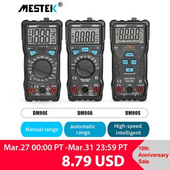 MESTEK cyfrowy multimetr DM90A E S NCV 6000 zlicza Auto począwszy AC woltomierz do prądu stałego latarka tylne światło uniwersalny Multitester tanie i dobre opinie Elektryczne 60mA 600mA 10A 600mV 6V 60V 600V 6000ohm 6Kohm 60Kohm 600Kohm 6Mohm 60Mohm Auto range Digital Display 60nF 600nF 6uF 60uF 600uF 6mF 100mF