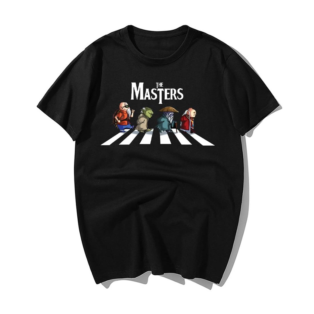 Funny Anime Shirt The Masters Walking Across Fashion Print Tshirt Men Summer Casual High Quality Cotton Short Sleeve Tops Tees