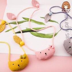 Fabric Leaves Pearl Cartoon Kitty Korean-style Cute CHILDREN'S Necklace Sweater Chain Autumn And Winter Childrenswear Collocatio