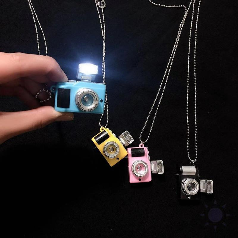 Punk Flash Camera Necklaces Music Pendant Luminous Necklace Retro Small Camera Necklace Flash Men and Women SLR