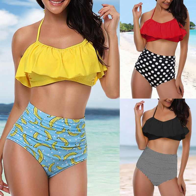Kobiety stroje kąpielowe Plus rozmiar 5XL lato Retro Mujer stroje kąpielowe 2019 brazylijski Halter Biquini szyi Polka Dot strój kąpielowy Bikini Set