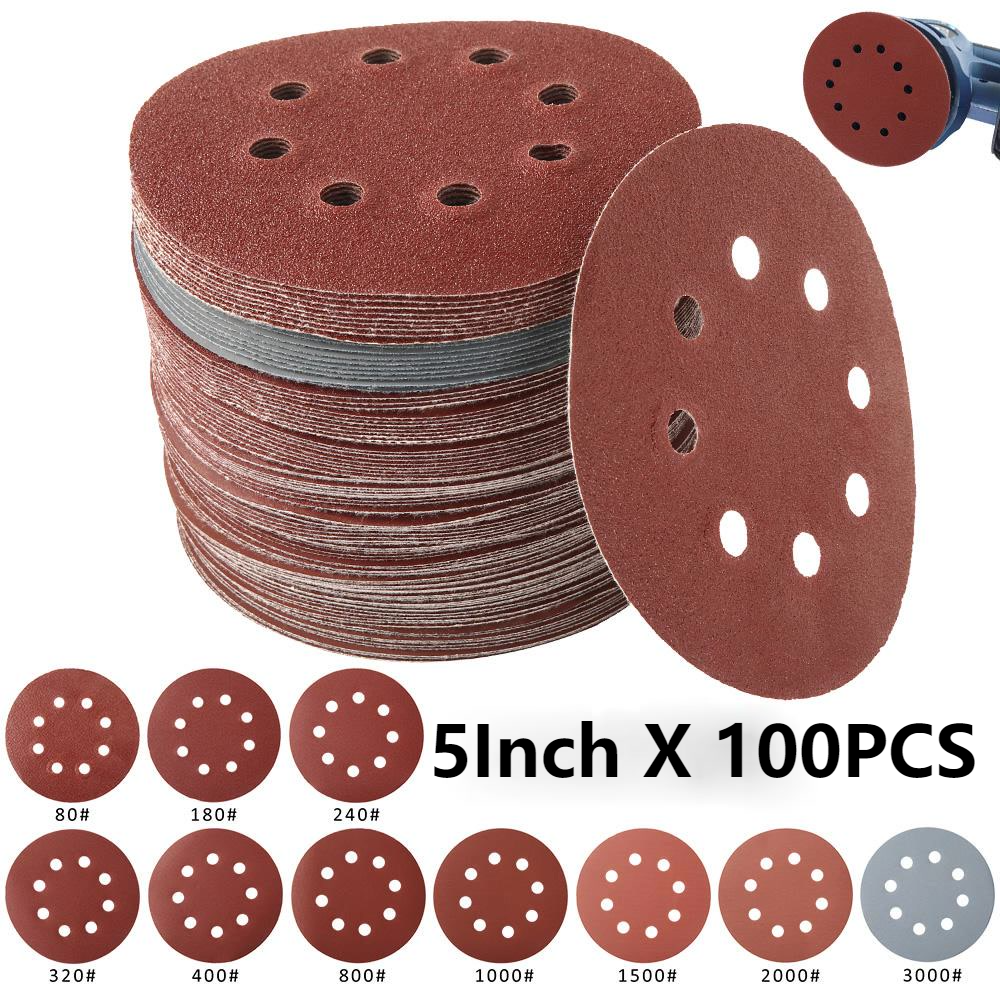 100Pcs 5Inch 125mm Round Sandpaper Eight Hole Sanding Disk Set 80-3000 Hook & Loop Abrasive Sander Paper Use For Polishing Tools