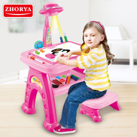 ZHORYA Projector Drawing Board Painting Desk with Mini Chair Educational Toys for Children Pink Table Draw Pen Kids Toy Game