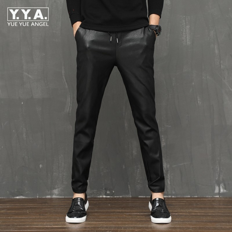 2020 Fashion Mens Leather Harem Pants Casual Comfort Stretchy Male Trousers Full Length Elastic Waist Faux Leather Skinny Pants