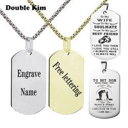 Гравировка Dog Tag подвески для мужчин на заказ нержавеющая сталь Кулоны из нержавеющей стали в стиле милитари идентификационная бирка ожерел...