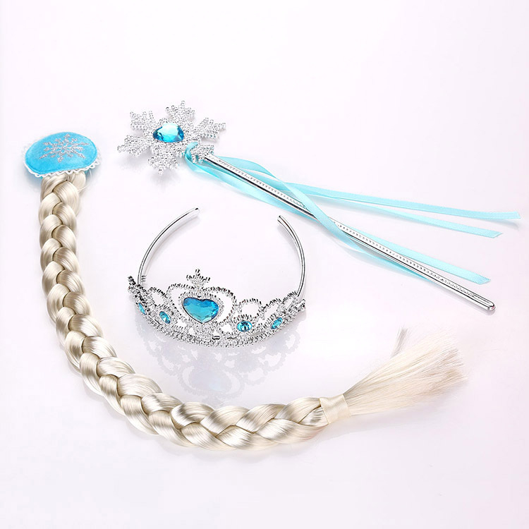 Frozen 2 Children Toys Crown Elsa Anna Princess Baby Girl Hair Accessory For Kid Disney Wig Braid Magic Wand 3 Pieces Photo Prop