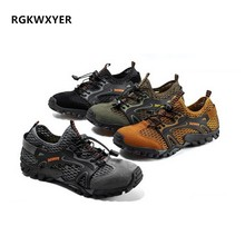 RGKWXYER Mens Casual Shoes Outdoor Tracking River Non-slip Wear-resistant Breathable Quick-drying Mesh Sports