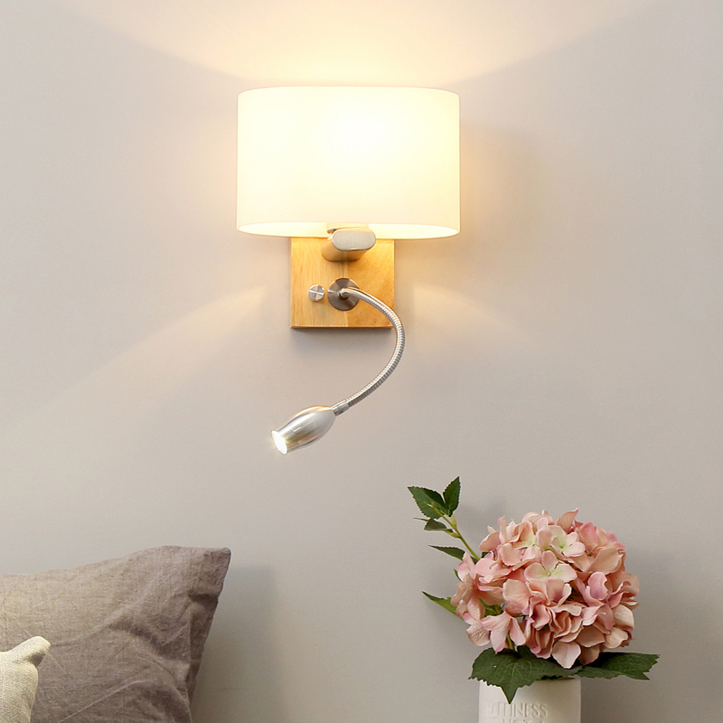 Lamp Europe Concise Modern Bedroom Read Lamp Original Solid Wood Led Read A Book Originality Study A Living Room Originality|LED Indoor Wall Lamps| |  - title=