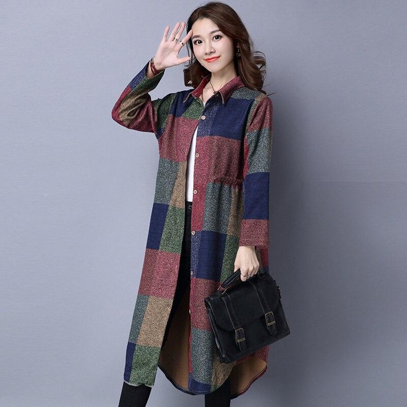 Women's 2020 Coat Tunique Longue Slim Vintage Floral Trench Coat Para As Mulheres Autumn Plus Size Women Clothing WXF101