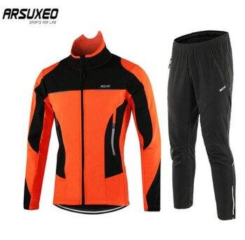 ARSUXEO Windproof Waterproof Thermal Sportswear Bicycle Pants Trousers  Bike Suits Clothing Men Winter Cycling Jacket Set