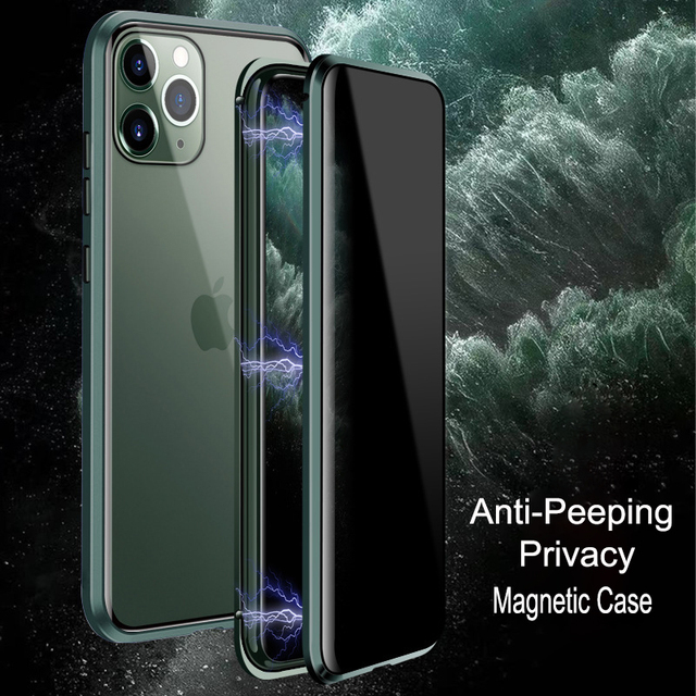 For iPhone 11 Pro Max Case Luxury Magnetic Anti Peeping Front Back Tempered Glass 360 Magnet Antispy Protective Cover Coque