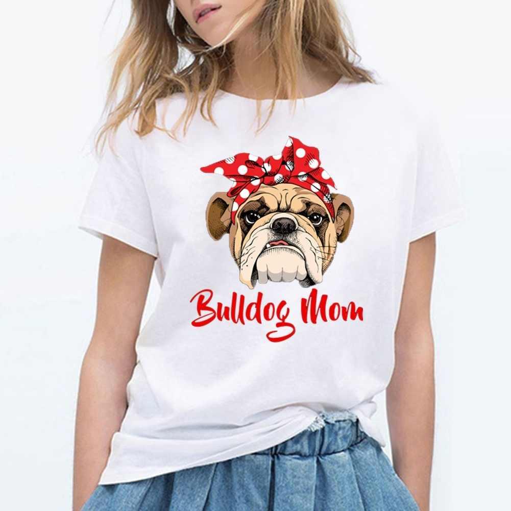Lustige Bulldog Mom T Hemd Frauen Grafik Casual T-shirt Femme Sommer Kurzarm T-shirt Weiß Vintage Hipster T Shirts Tops